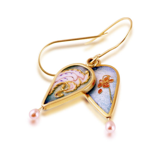 Cloisonne Jewelry | Victorian Queen | Enamel | Pearl Earrings