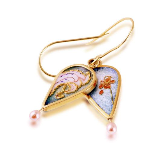 Cloisonne Jewelry   Victorian Queen   Enamel   Pearl Earrings