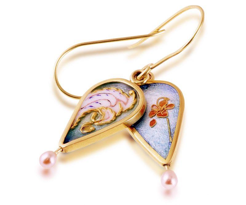 Lacy Pearls | Cloisonne Earrings | Enamel Jewelry created by Patsy Croft