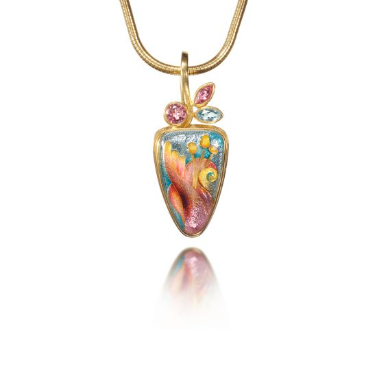 Stargazing   Cloisonné Jewelry   Lilium Necklace   Enamel Jewelry by Patsy Croft