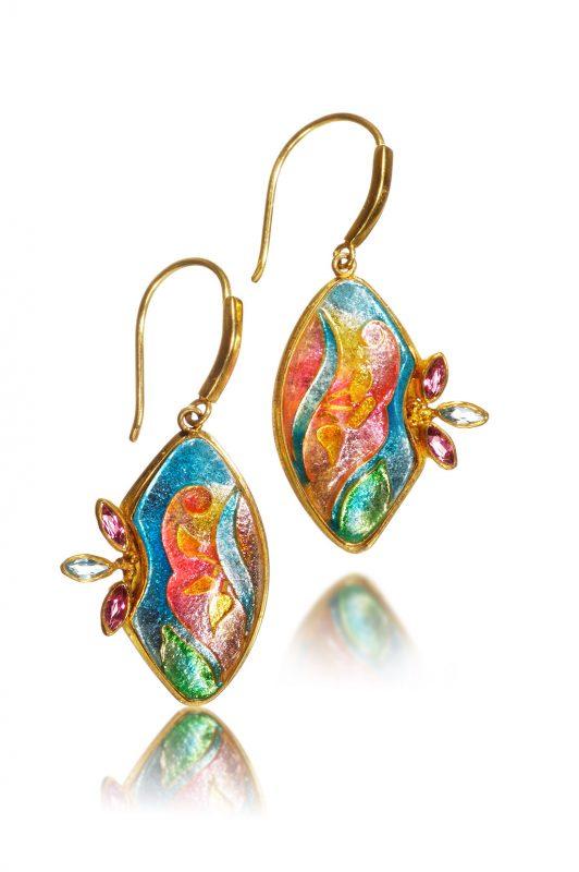 Lilium Cloisonne Earrings | Enamel Jewelry | Enamel Jewelry Artist Patsy Croft