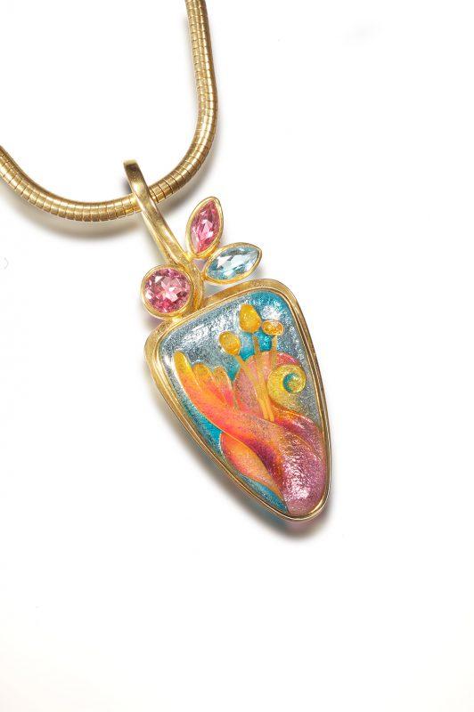 Cloisonne Jewelry | Lilium Necklace | Enamel Jewelry by Patsy Croft