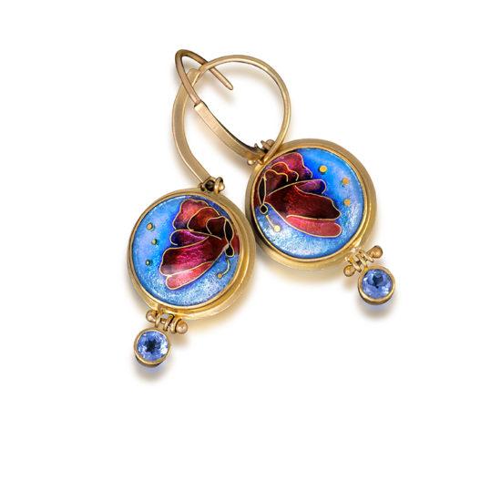 Chrysalis-butterfly-enamel-earrings-custom-jewels