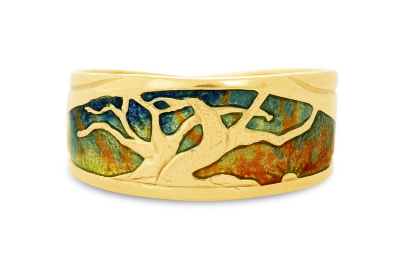 The Mighty Trees at Sunrise | Cloisonne jewelry | Enamel jewelry