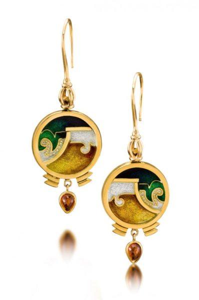 Bella Noche Cloisonne Earrings   Enamel and Gold Earrings   Gold Enamel Jewelry