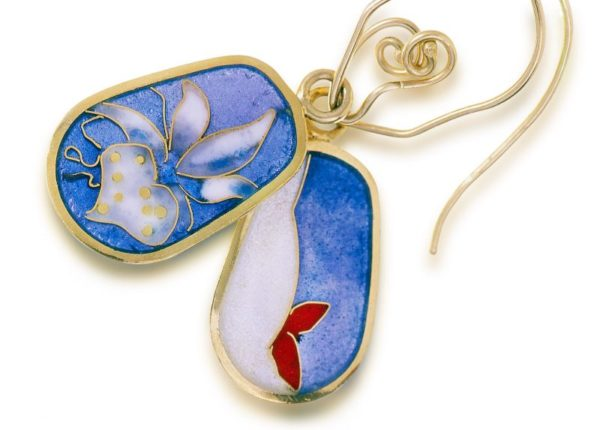Orchid | Enamel Flower Earrings | Double-sided Earrings