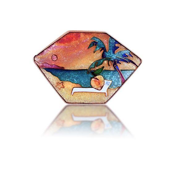 Peach Fest   Hawaiian Jewelry   Enamel Pendant