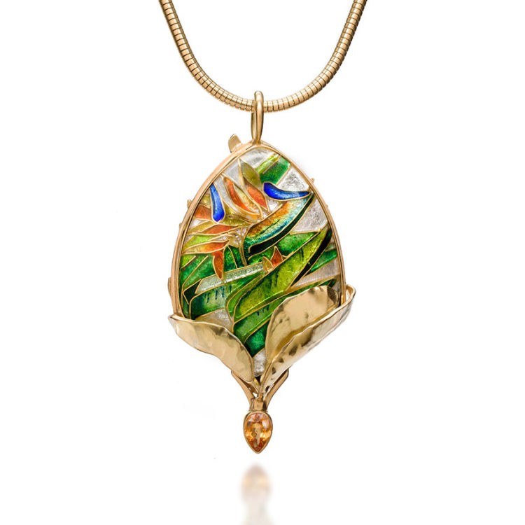 queen-bird-front | cloisonne jewelry | cloisonne enamel