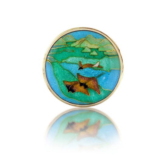 rays in the caribbean |cloisonne enamel pendant