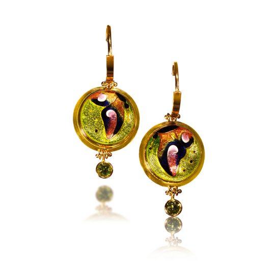 Soleil Cloisonne Earrings   Enamel Jewelry by Patsy Croft