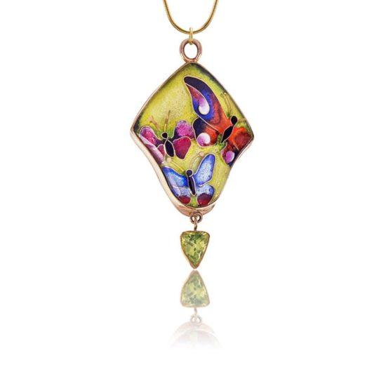 Soleil Cloisonne Pendant l Butterflies Necklace   Enamel Pendant