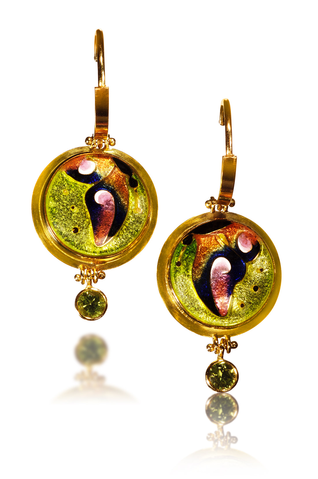 Cloisonne Jewelry | Soleil Earrings | Enamel Jewelry by Patsy Croft