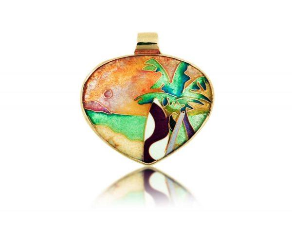 Surfer's Paradise | Pendant | Gold Enamel Jewelry