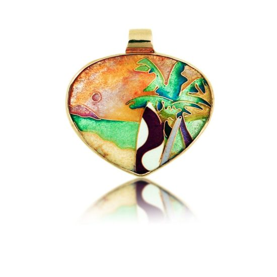 surfers paradise | enamel pendant| handmade enamel jewelry