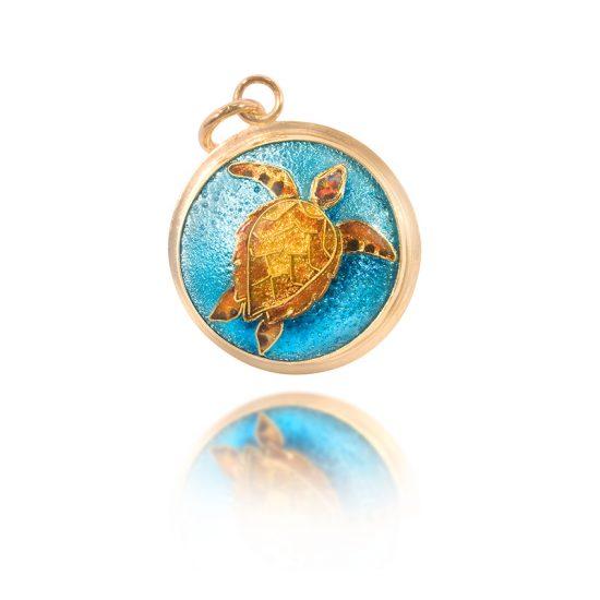 Turtle Cloisonne Jewelry | Turtle Enamel Pendant - OOAK