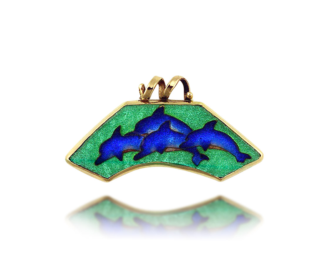 Wave of Dolphins   Cloisonne Jewelry   Enamel Jewelry   Unique gold jewelry