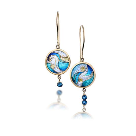 Crashing Waves Enamel Earrings | Cloisonne jewelry | Unique jewelry
