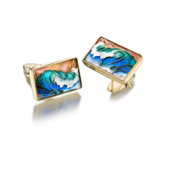 Waves Cufflinks | Cloisonne Enamel | Jewelry for Men