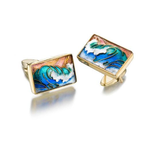 Waves Cufflinks   Cloisonne Enamel   Jewelry for Men