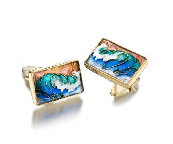 Waves   Cloisonne Cufflinks   Gold Cufflinks