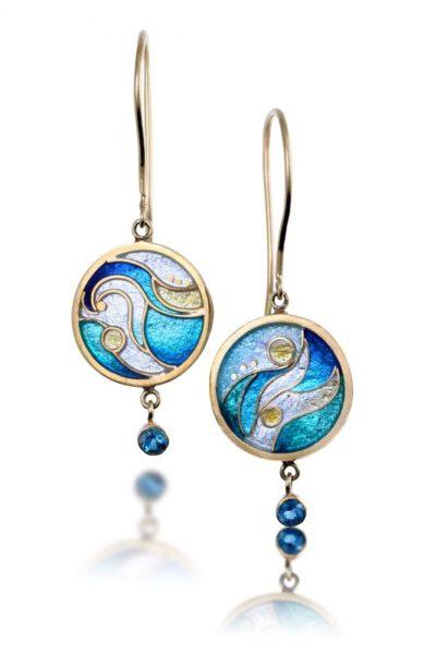 Crashing Waves   Double Sided Enamel Earrings   Ocean Earrings