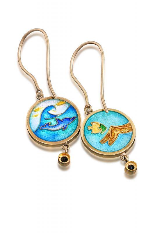 Cloisonne Jewelry   Waves Earrings   Enamel Jewelry by Patsy Croft