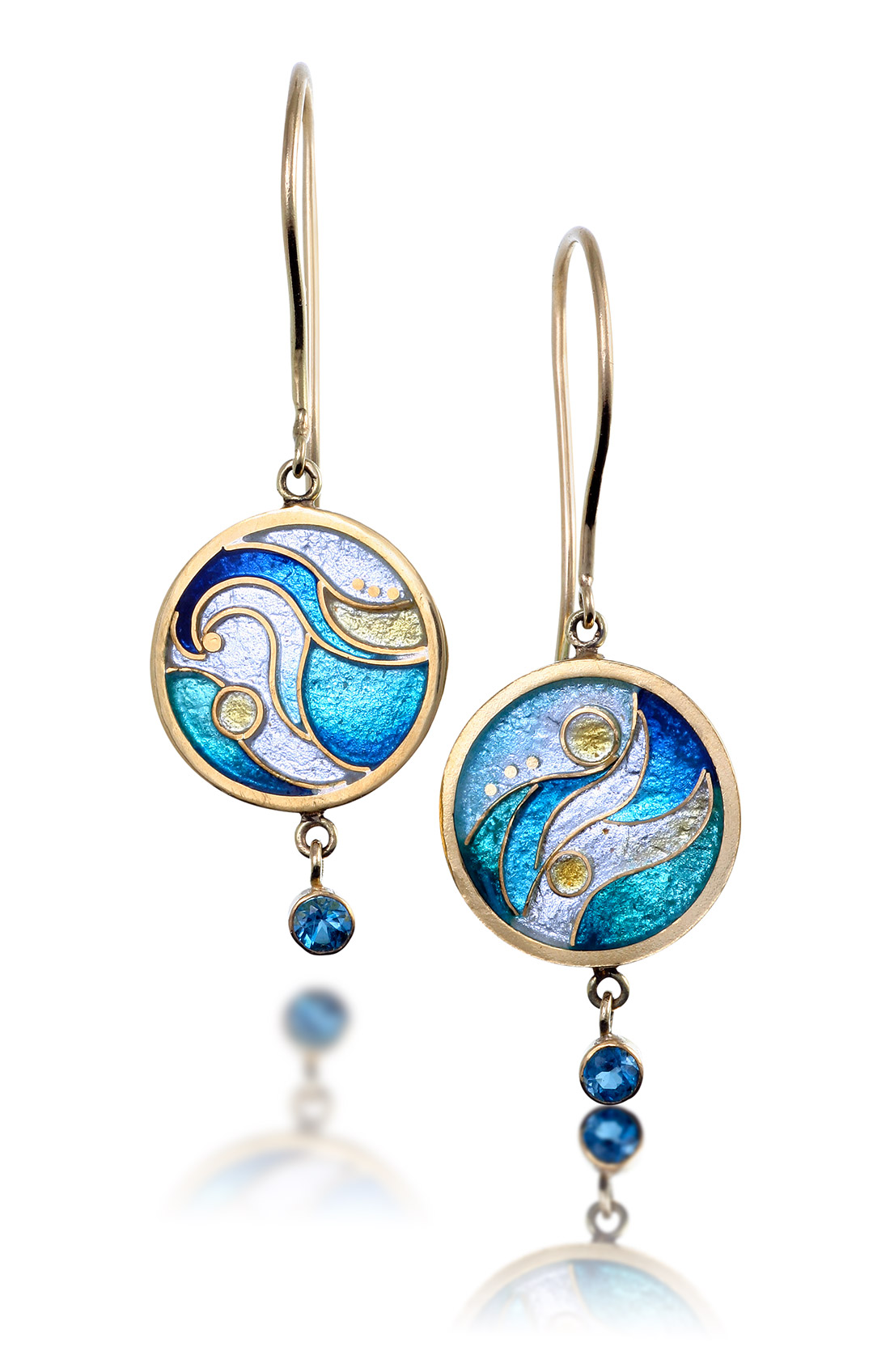 Cloisonne Jewelry | Waves Earrings | Enamel Jewelry by Patsy Croft