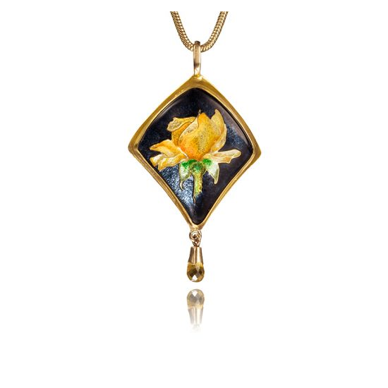 Yellow Rose | Cloisonne Jewelry | Enamel Jewelry | Unique Jewelry