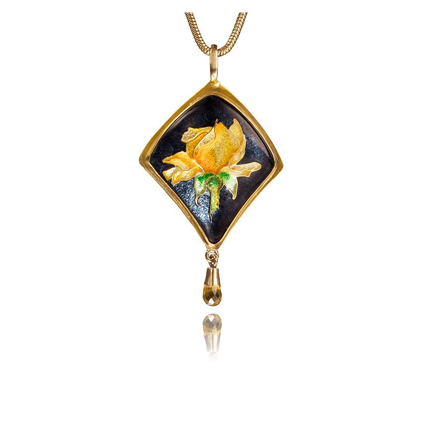 Yellow Rose | Cloisonne Jewelry | Enamel Jewelry