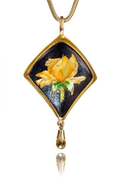 Elegant Beauty | Yellow Rose Enamel Necklace | Custom Cloisonne