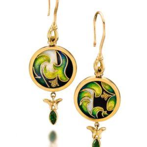 Yerba Buena   Cloisonne Earrings   Unique Gold Jewelry