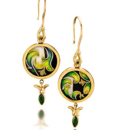 Yerba Buena | Cloisonne Earrings | Unique Gold Jewelry