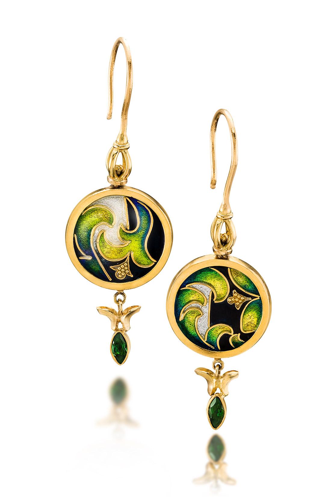 Custom Enamel Earrings | Yerba Buena | Enamel Jewelry by Patsy Croft