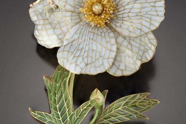 Matilija Poppy Jewel | Brooch | Plique a Jour Jewelry