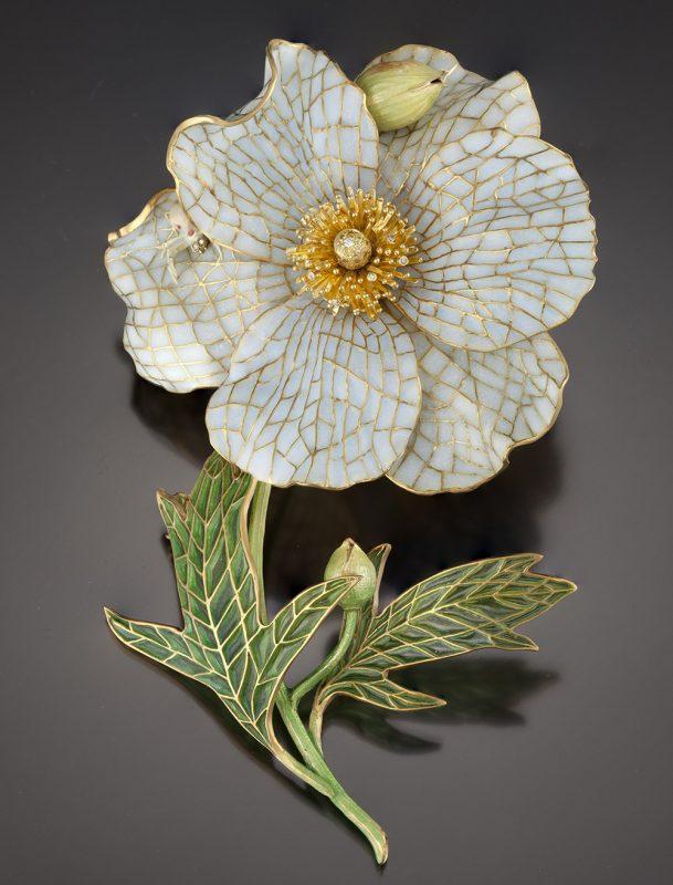Matilija Poppy Jewel   Brooch   Plique a Jour Jewelry