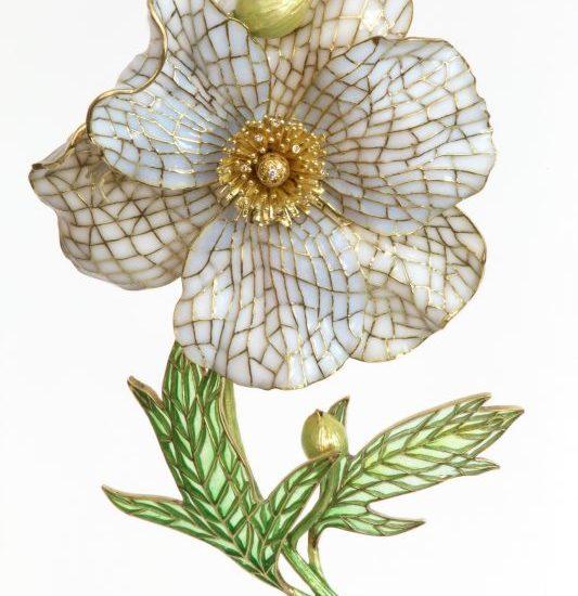 Matilija Poppy Brooch | Plique a Jour Jewelry