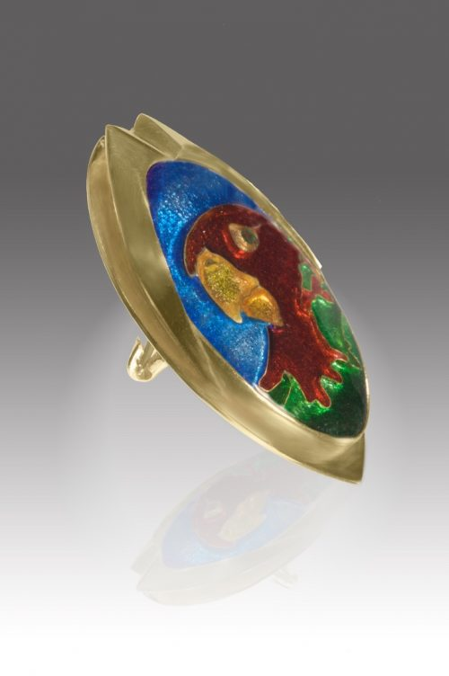 The Parrot | Custom Enamel Pendant | Patsy Croft Jewelry