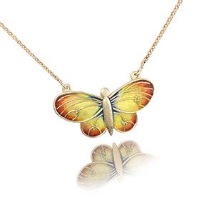 Champleve Butterfly   Custom Pendant   Cloisonné Necklace