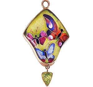 Soliel Butterfly Necklace   Custom Enamel Pendant   Cloisonné