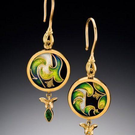 Yerba Buena - Enamel Earrings - for sale - Patsy Croft