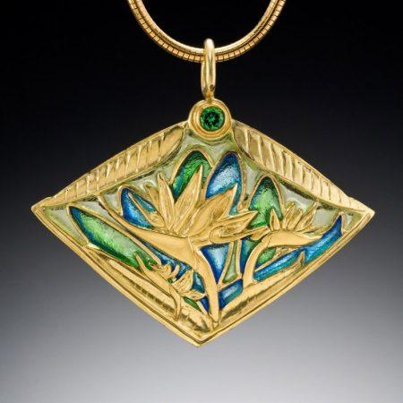 Ethereal Beauty-Bird of Paradise-Plique a Jour-Custom Necklace - Patsy Croft