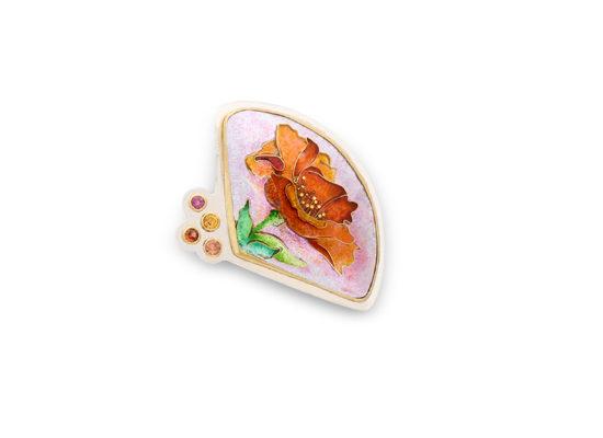 Orange Poppy   Custom Enamel   Patsy Croft Jewelry